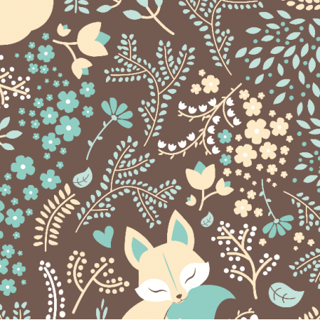 Fabric 2224 | Sleeping Fox - Pastel Mint