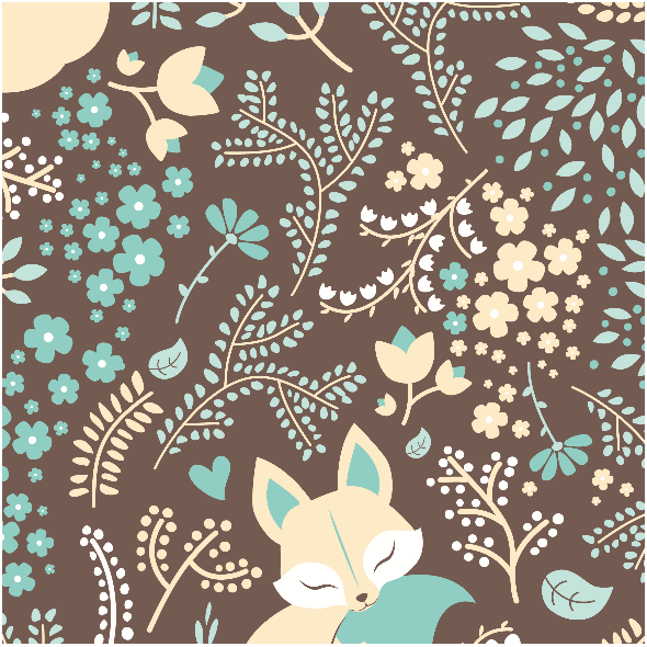 Tkanina 2224 | Sleeping Fox - Pastel Mint