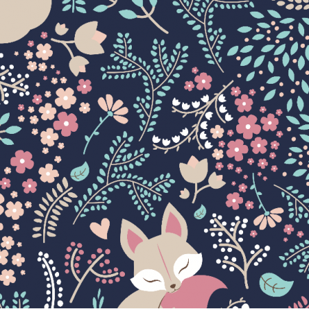 Tkanina 2225 | sleeping Fox - pastel dark