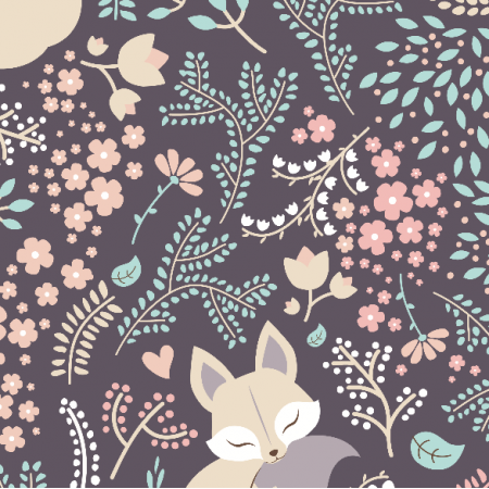 Fabric 2227 | sleeping Fox - pastel violet