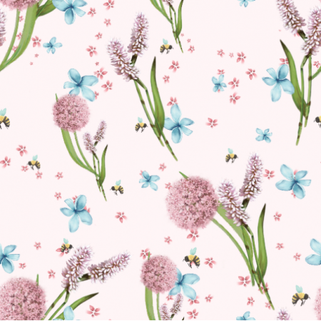 Tkanina 20718 | Różowe kwiaty / pink flowers