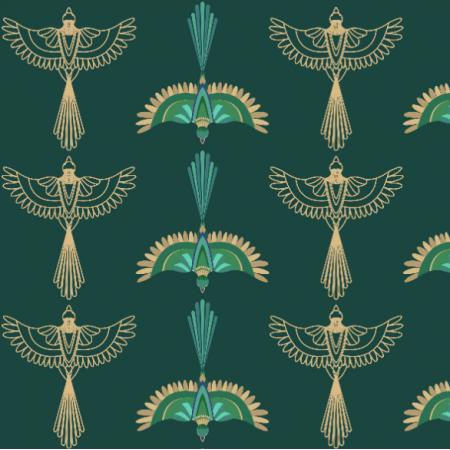 Fabric 21026 | Ptaki ornament art deco