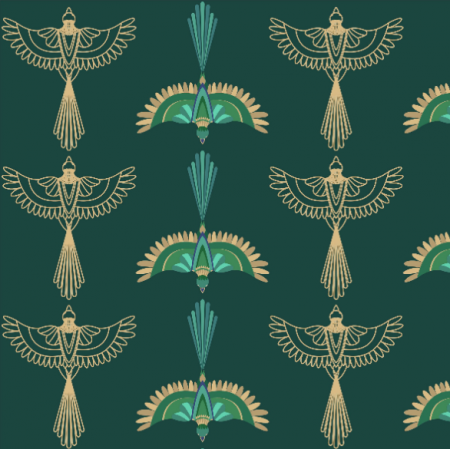 Fabric 21026 | Ptaki ornament art deco