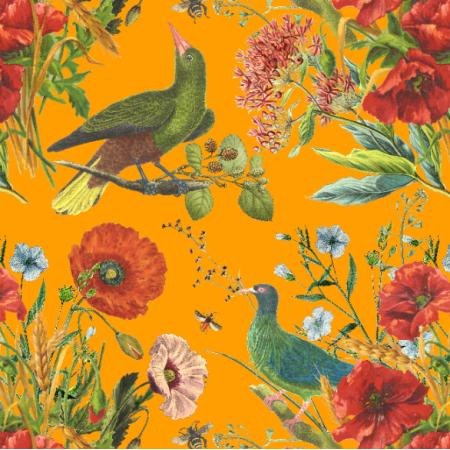 Fabric 21153 | PTAKI I MAKI NA POMARAŃCZOWYM