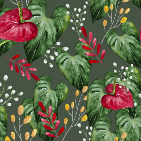 Tkanina 21185 | Botanical watercolor pattern