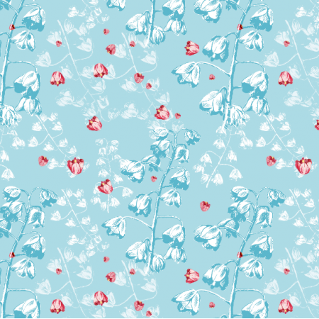 Tkanina 21186 | Blue botanical pattern