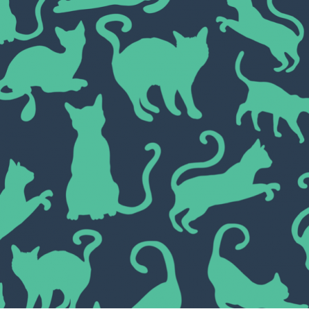 Tkanina 21227 | Cats Cat Kitten Blue Green