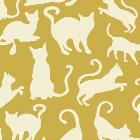Fabric 21229 | Mustard Cats Shapes Yellow