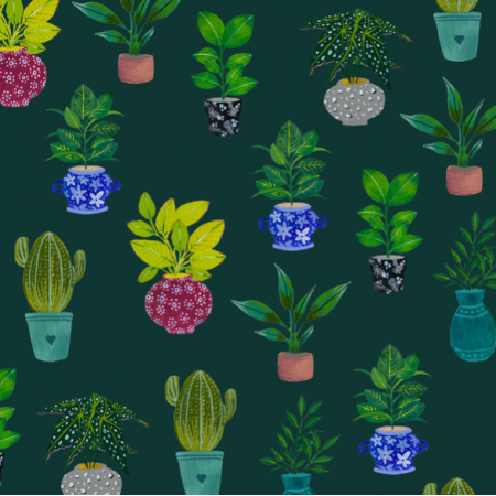 Fabric 21233 | Green Potted Plants Lover