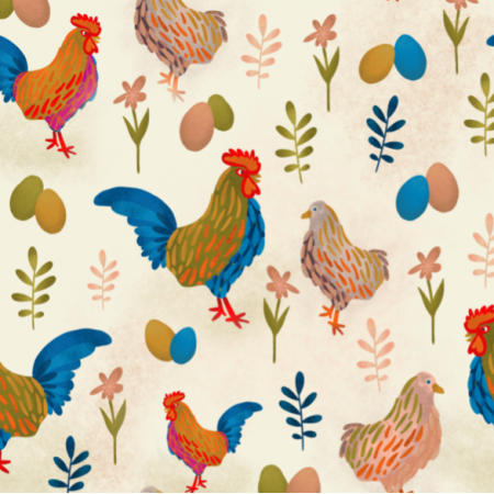 Fabric 21237 | Koguciki Rooster Chicken Folk