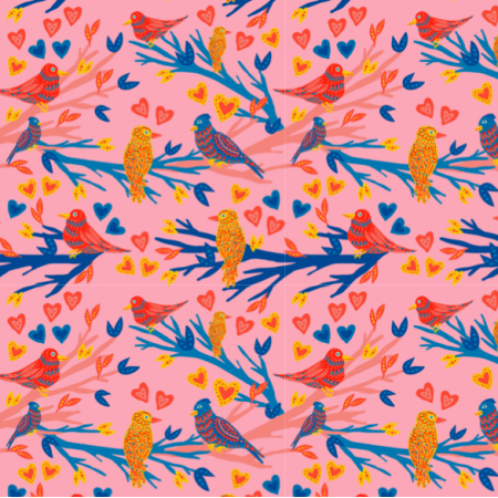 Fabric 21238 | Funny birds Birdy Heart Pink