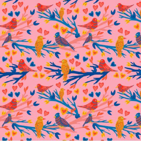 21238 | Funny birds Birdy Heart Pink