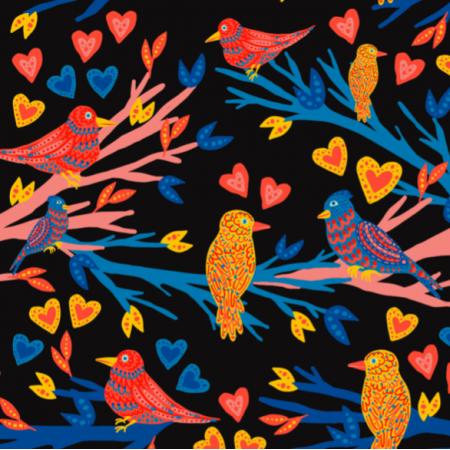 Fabric 21245   Black birds heart funny