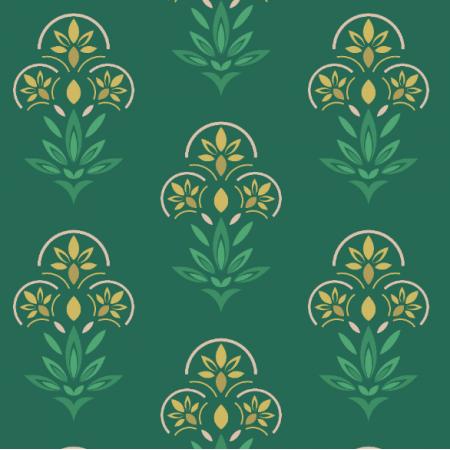 Fabric 21273 | Kwiaty Art deco na morskiej zieleni