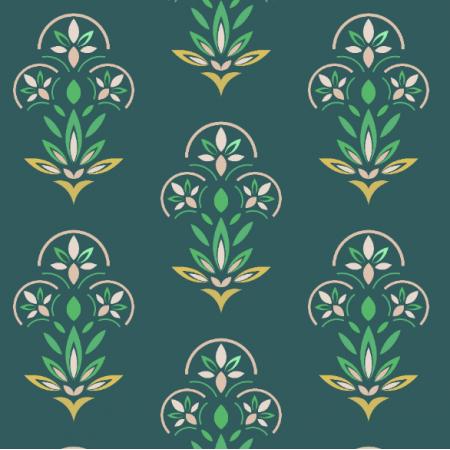 Tkanina 21275 | Kwiaty Art deco na granatowym tle