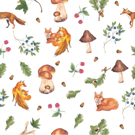Fabric 21285 | Foxes in the forest lisy w lesie
