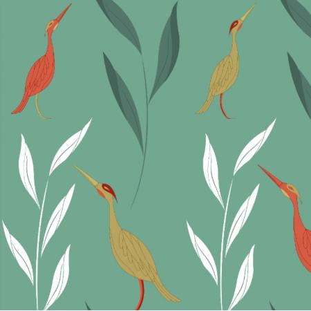 21417 | Ptaki czaple koral i złoto na niebieskim