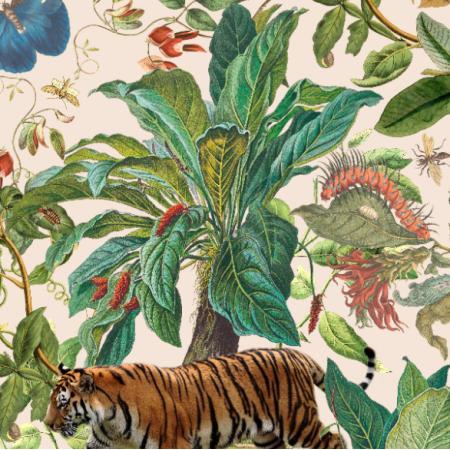 Fabric 21479 | Tropikalna Dżungla z Tygrysami