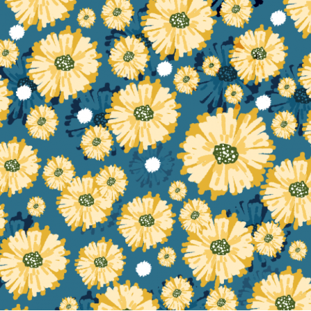 Fabric 21537 | Yellow flowers