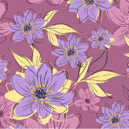 Fabric 21538 | purple Flowers