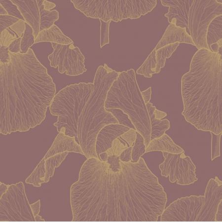 Tkanina 21673 | Zlote irysy na rozowym