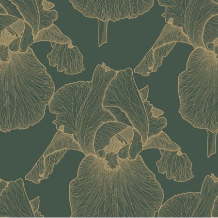 Fabric 21674 | Zlote irysy na zielonym