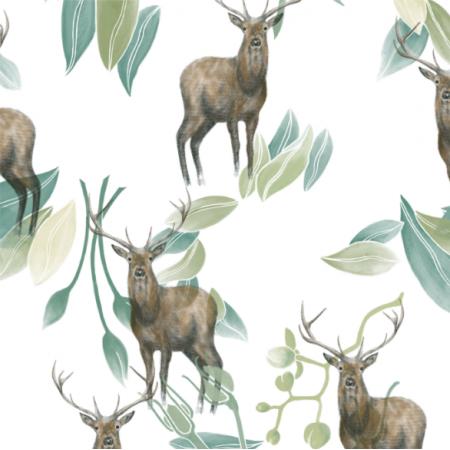 Fabric 21677 | jelenie na bialym