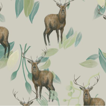 Fabric 21678 | Jelenie na bezowym