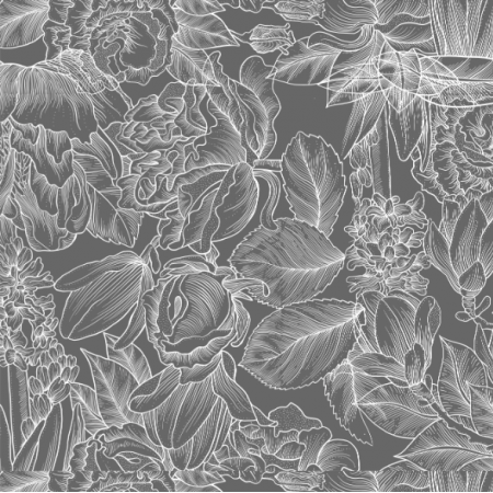 Fabric 21720 | White vintage flowers on grey