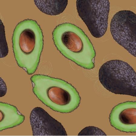 Tkanina 21800 | Avocado on brown