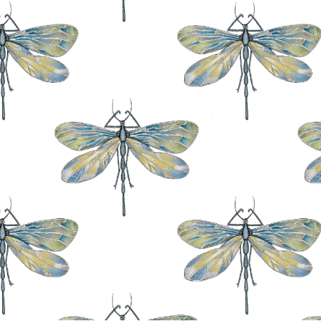 Fabric 21806 | Dragonfly on white