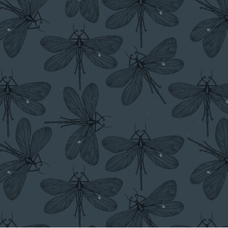 Tkanina 21909 | Dragonfly on navy blue