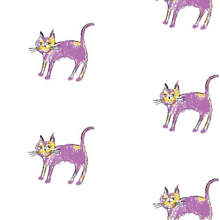 Fabric 21921 | Purple cat 1 pattern for kids