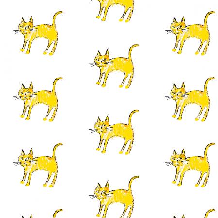 Tkanina 21935 | Yellow cat 1 pattern for kids