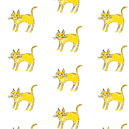 Fabric 21935 | Yellow cat 1 pattern for kids
