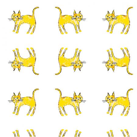 Tkanina 21936 | Yellow cat 1a pattern for kids