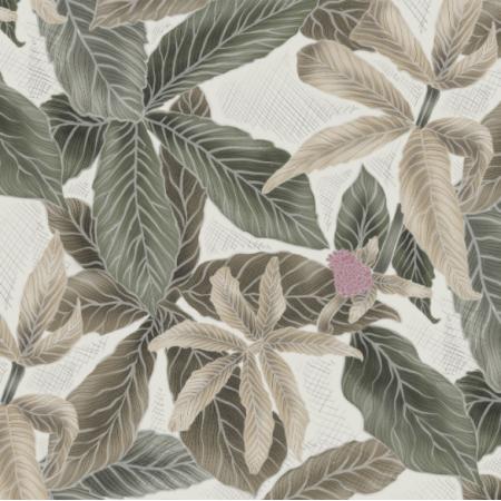 Fabric 21952 | Green leaves on ecru