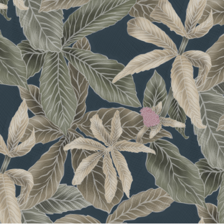 Fabric 21956 | Green leaves on navy blue