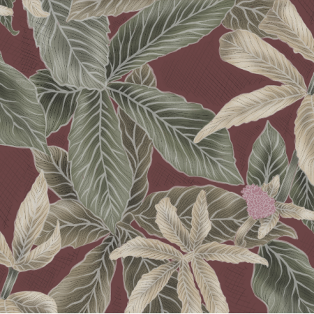 Fabric 21958 | Green leaves on red