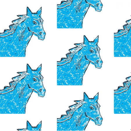 Fabric 22000 | Blue horse head 1