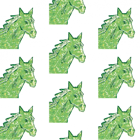 Tkanina 22004 | Green horse head 1