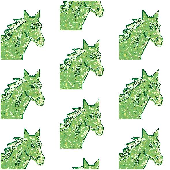 Fabric 22004 | Green horse head 1