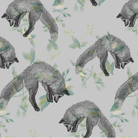 Fabric 22136 | Foxes on grey