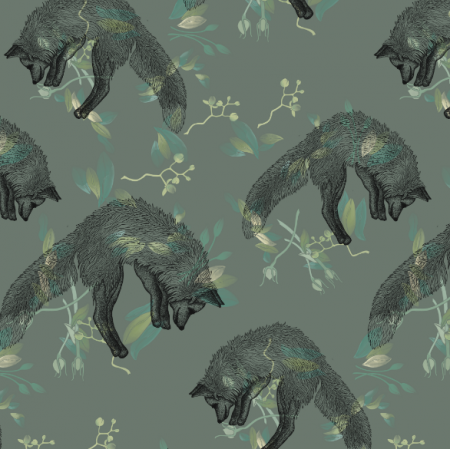 Fabric 22139 | Foxes on green