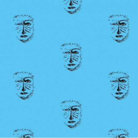 Tkanina 22155   Blue black mask pattern 1