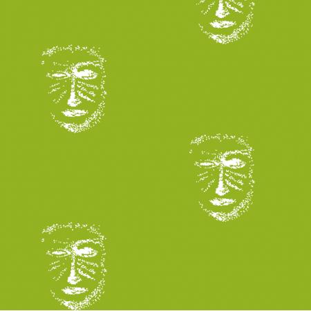 Tkanina 22157 | Green white mask patern 1