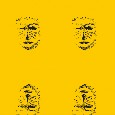 Fabric 22160 | Yellow black mask pattern 1A