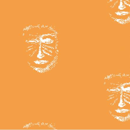 Fabric 22161 | Orange white mask pattern 1