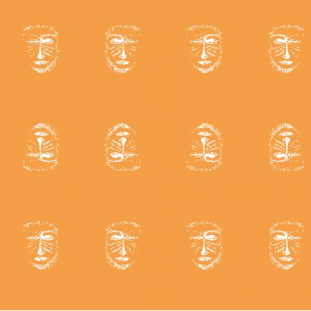 Tkanina 22162 | Orange white mask pattern 1A