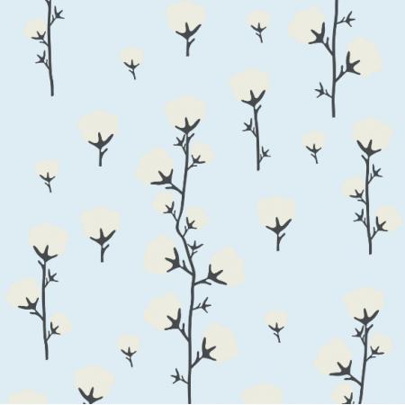 Tkanina 22200 | cotton flower blue